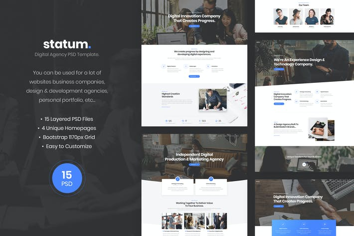 Thumbnail for Statum - Digital Agency PSD Template
