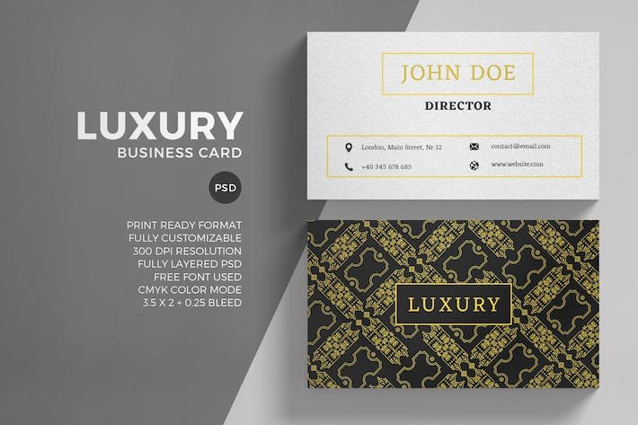Thumbnail for Luxury Golden Business Card Template