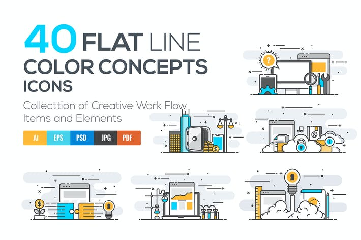 Thumbnail for Set of Modern Flat Line Color Conceptual icons