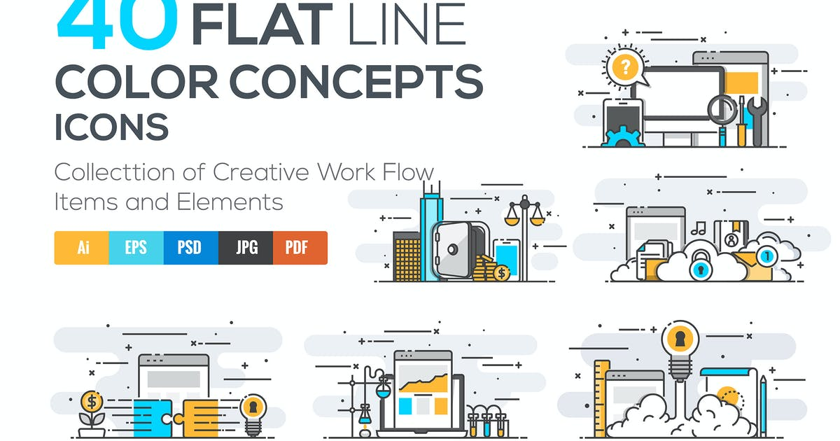 Download Set of Modern Flat Line Color Conceptual icons by graphics4u