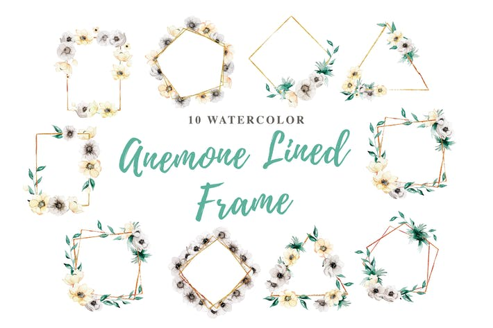 Thumbnail for 10 Watercolor Anemone Lined Frame Illustration