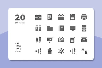 20 Office Icons (Solid)