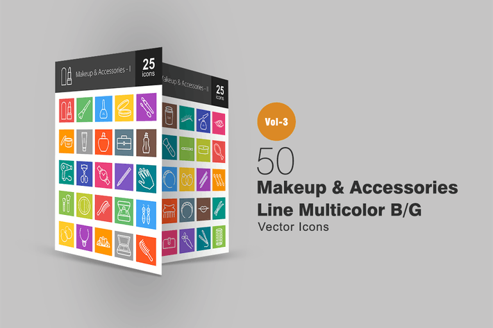 50 Makeup & Accessories Line Multicolor Icons