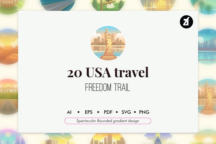 Thumbnail for 20 America travel rounded gradient elements