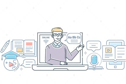 Language school - line design style illustration