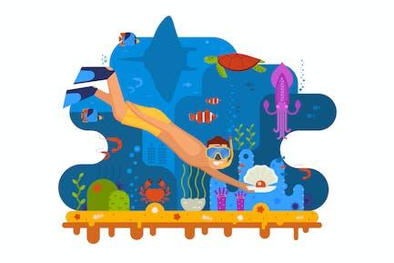 Buceo en la escena submarina mundial de buceo