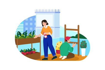 Urban Farming Illustration Concept