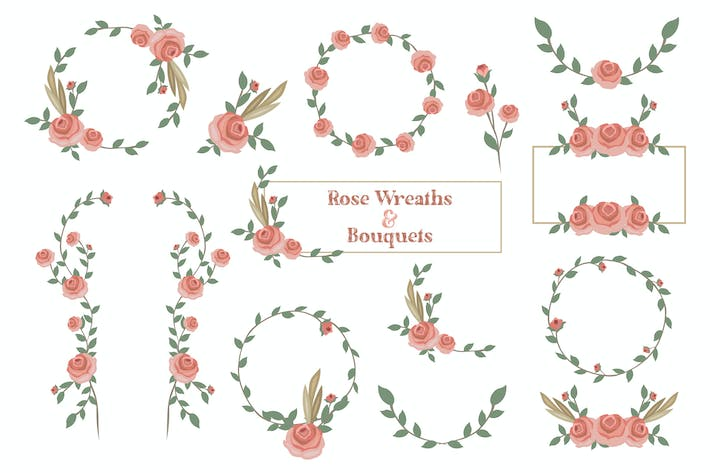 Rose Wreaths & Bouquets Hand Drawn
