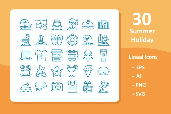 Thumbnail for 30 Summer Holiday Icons ( Line )
