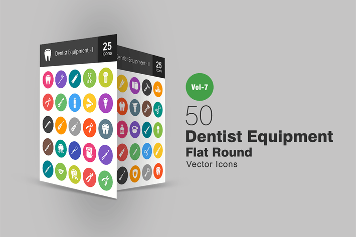 Thumbnail for 50 Dentist Equipment Flat Round Icons