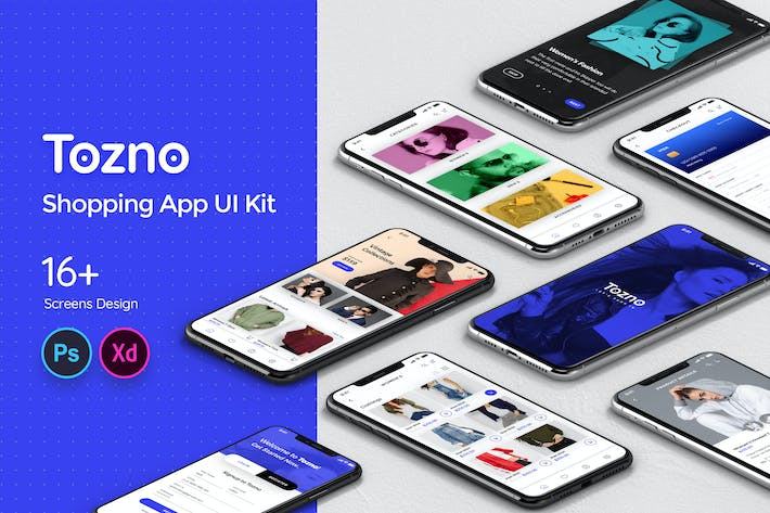 Cover Image For Tozno Shopping Mobile App UI Kit