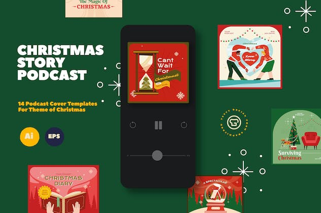 Christmas Podcast Illustration