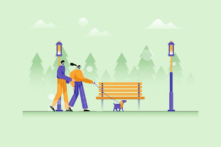 Thumbnail for Couple walking with her Dog in park