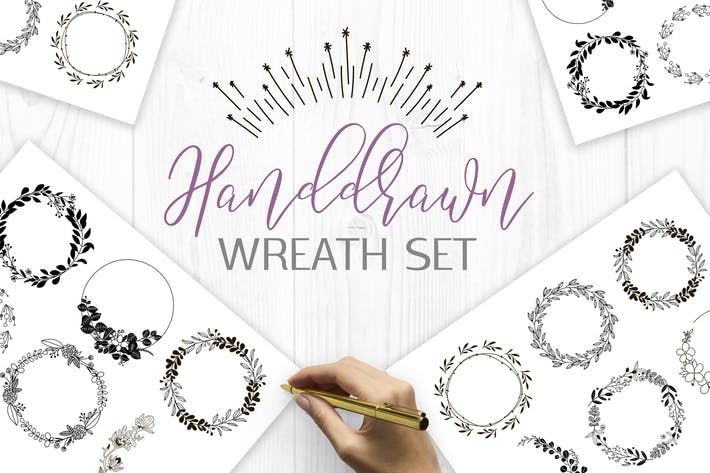 Thumbnail for Handdrawn wreaths clipart