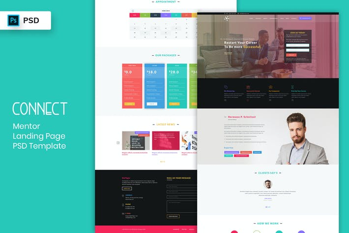 Thumbnail for Mentor - Landing Page PSD Template-02