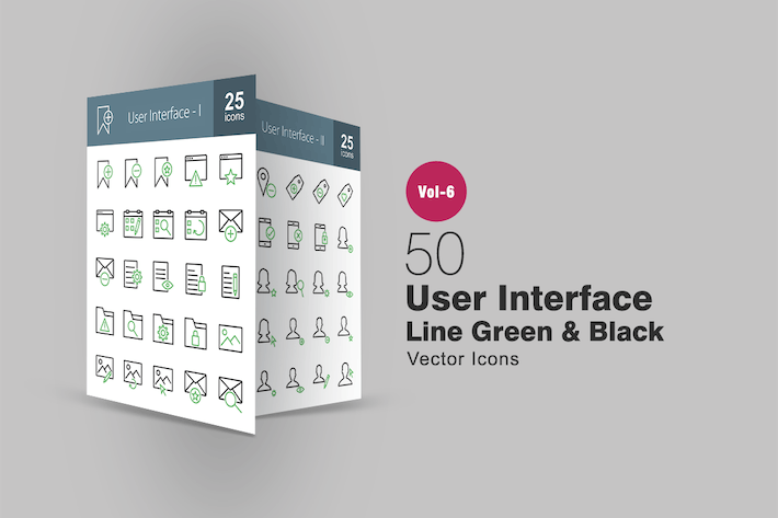 Thumbnail for 50 User Interface Green & Black Line Icons