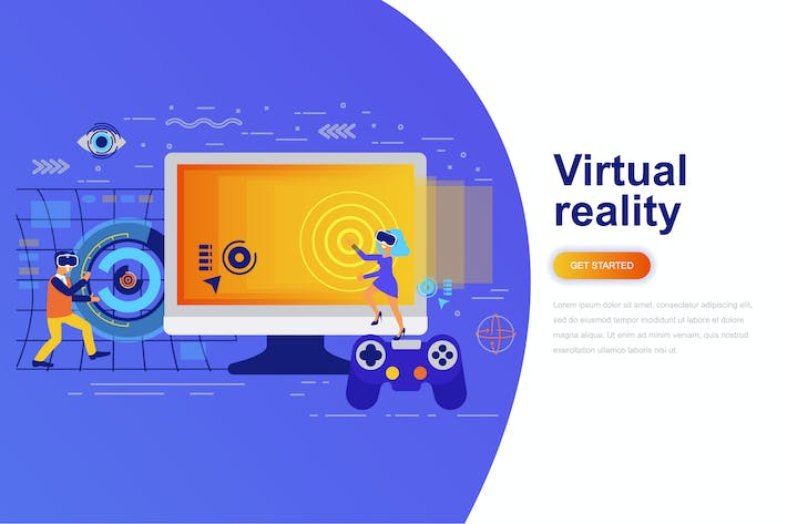Thumbnail for Virtual Reality Modern Flat Concept