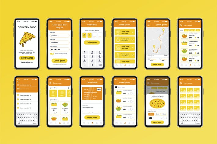 Thumbnail for GUI Layout Delivery Food Unique Mobile App UI Kit