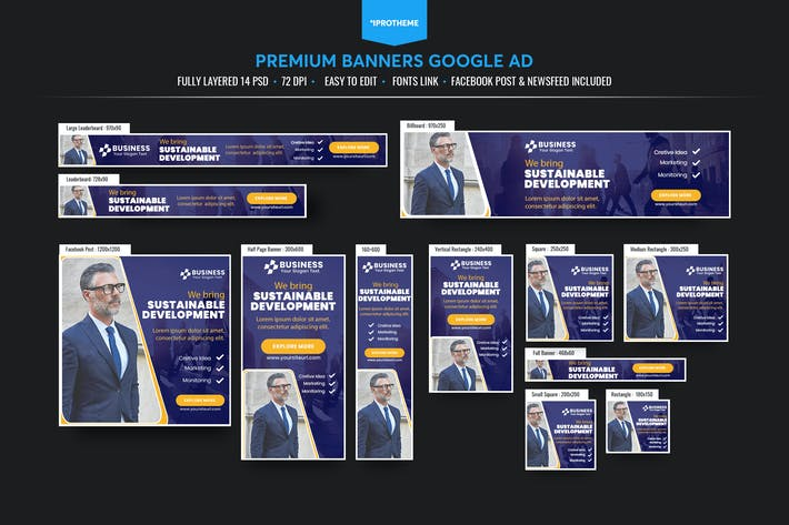 Thumbnail for Business Banners Ads Template V02