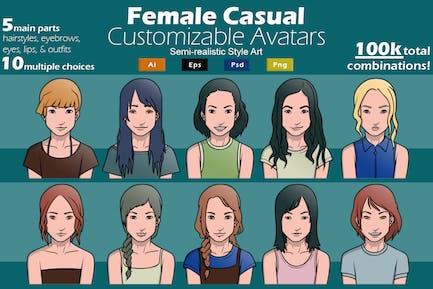 Female Casual Customizable Avatars GL