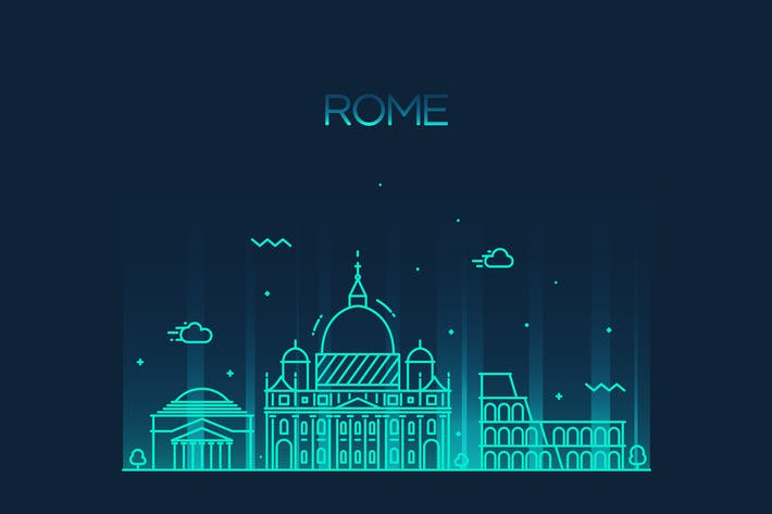 Thumbnail for Rome skyline, Italy
