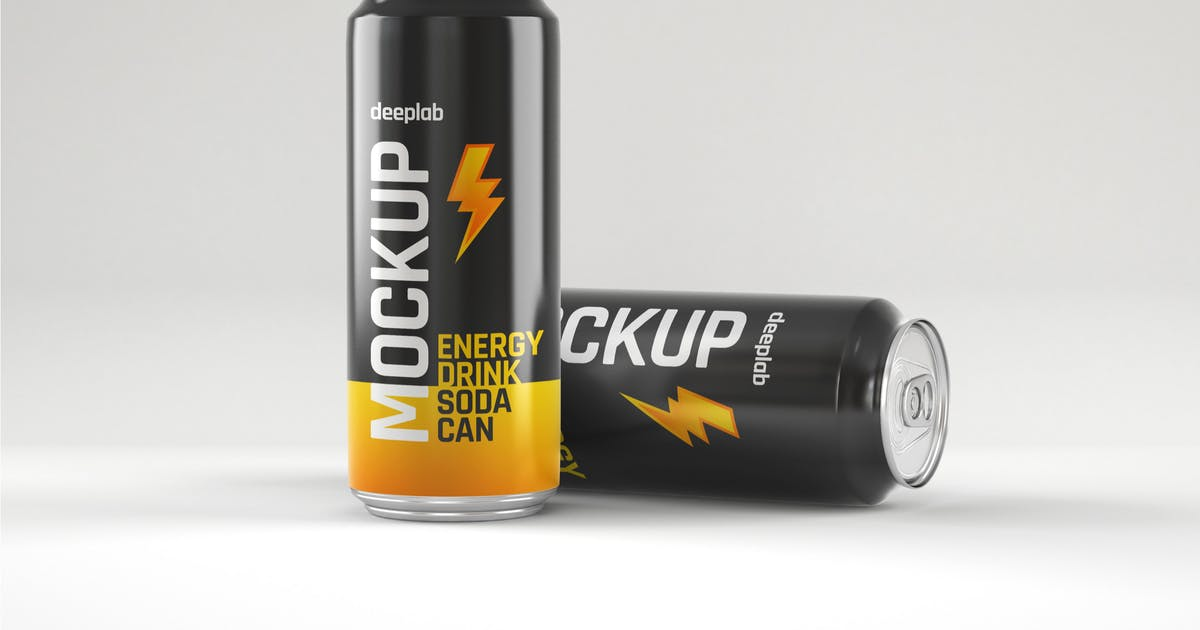 Download Glossy Energy Soda Can Mockup by deeplabstudio