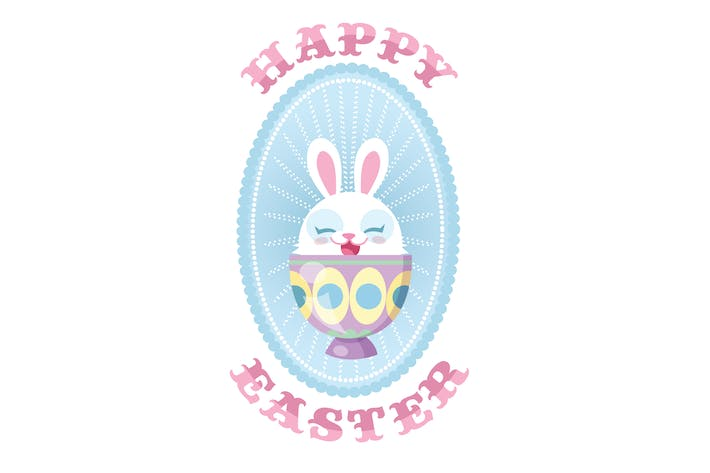 Thumbnail for Pastel Happy Easter Bunny Decorative Egg