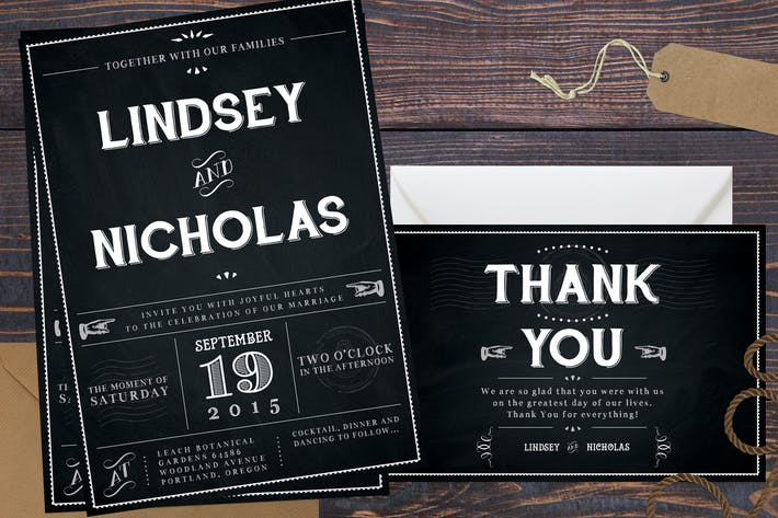 Thumbnail for Chalkboard Wedding Invitations