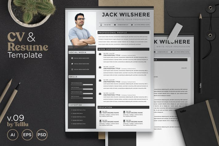 Thumbnail for Resume CV Template v.09 Simple Dark