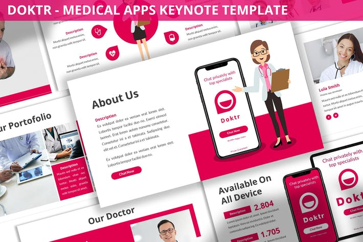 Thumbnail for Doktr - Medical Apps Keynote Template