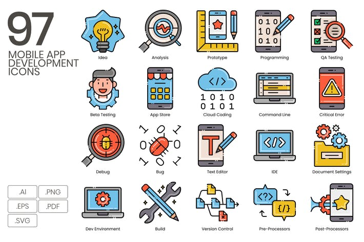 Thumbnail for 97 Mobile App Development Icons | Aesthetic
