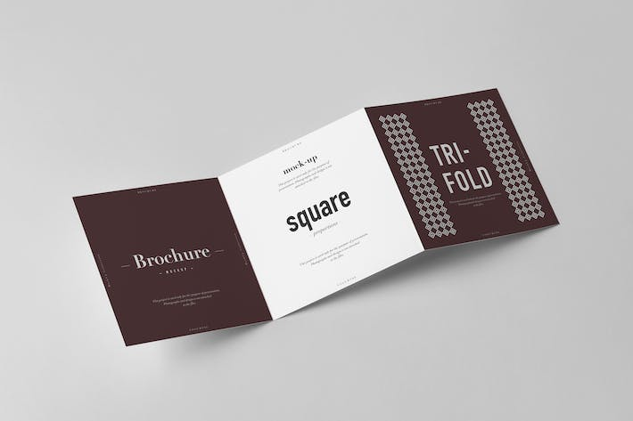 Cover Image For Tri-Fold Square Brochure Mock-up 2