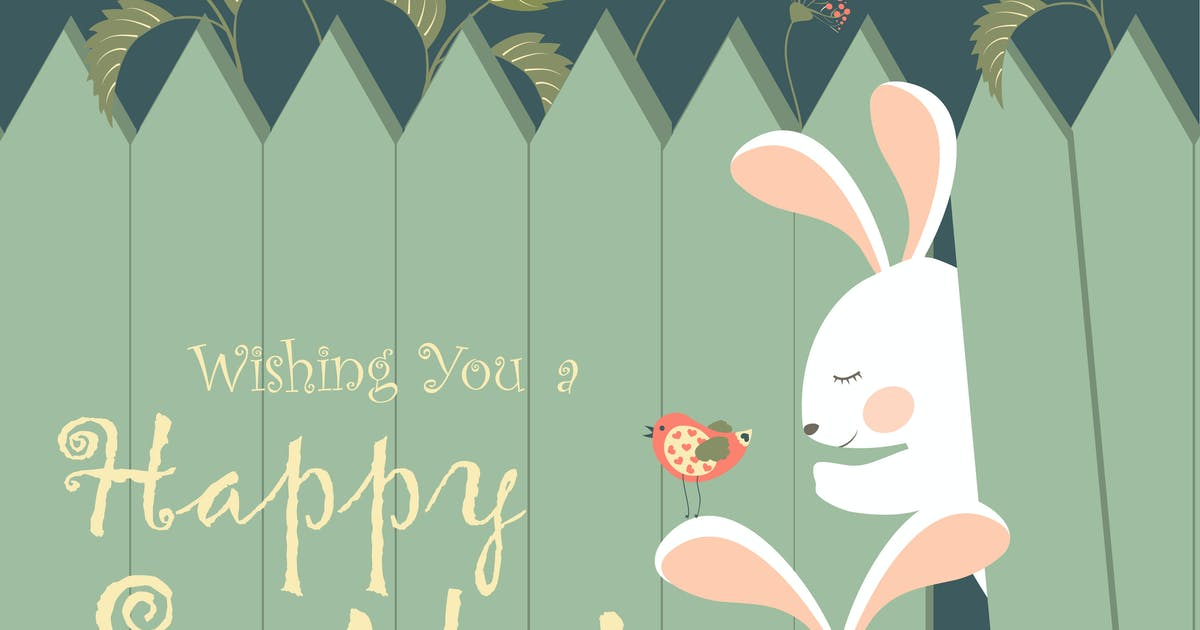 Download Easter bunnies and easter eggs. Vector by masastarus