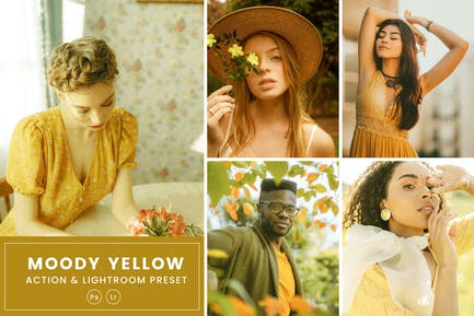 Moody Yellow Action & Lightrom Presets