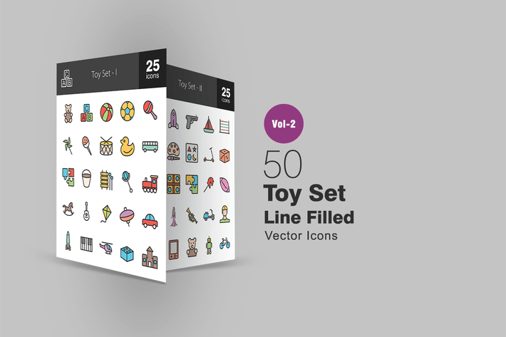 Thumbnail for 50 Toy Set Line Filled Icons