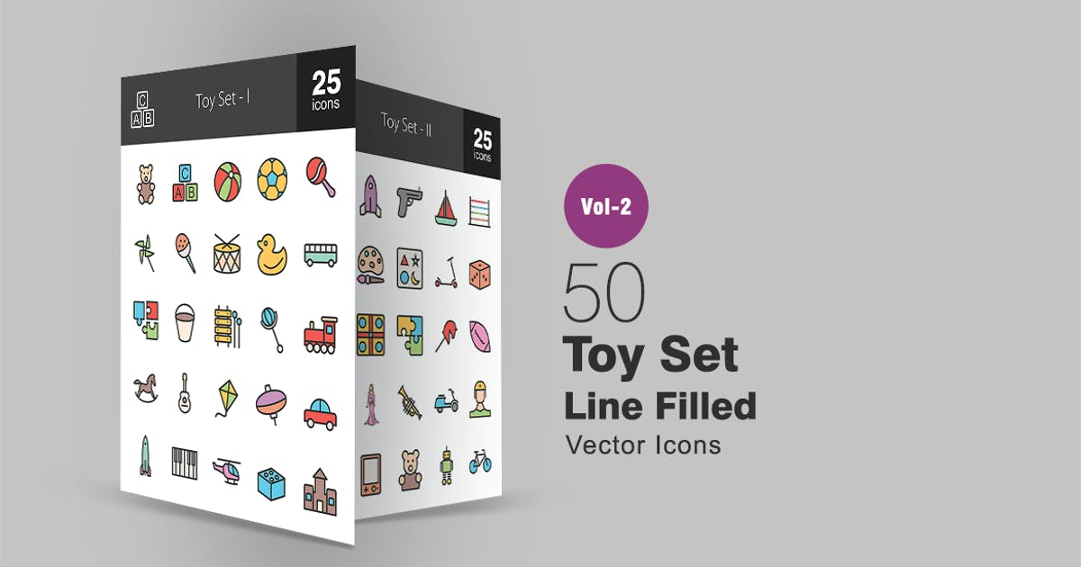 Download 50 Toy Set Line Filled Icons by IconBunny