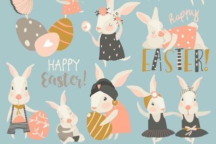 Vector set cartoon illustration of cute rabbit and