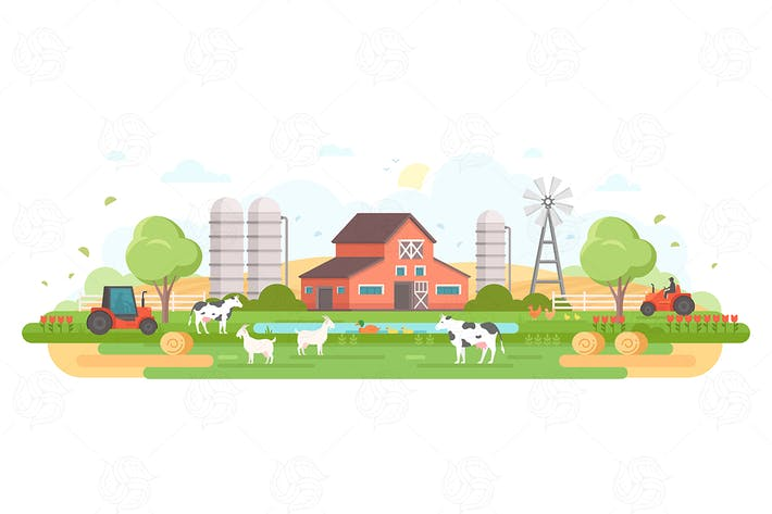 Thumbnail for Farm - flat design style vector illustration