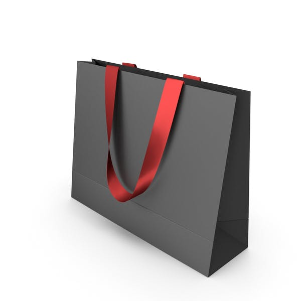 Black Paper Bag  with Red Handles