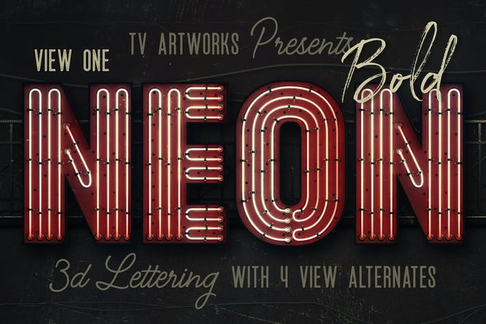 Thumbnail for Bold Neon 3D Lettering View 1