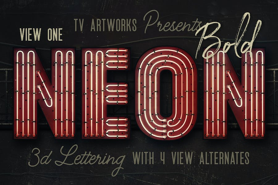 Bold Neon 3D Lettering View 1