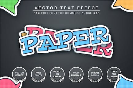 Paper origami - editable text effect, font style