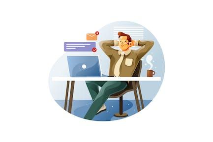 Los empleados se sientan relajados en sus lugares de trabajo
