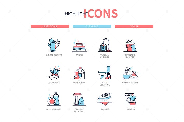 Thumbnail for Cleaning services - line design style icons set