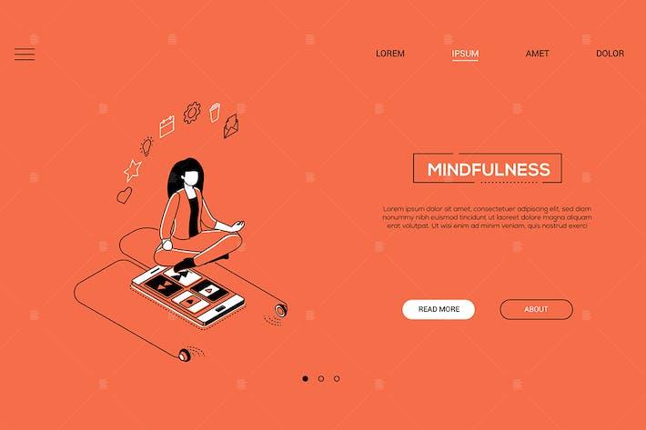 Thumbnail for Mindfulness - Banner web isométrico de diseño de línea