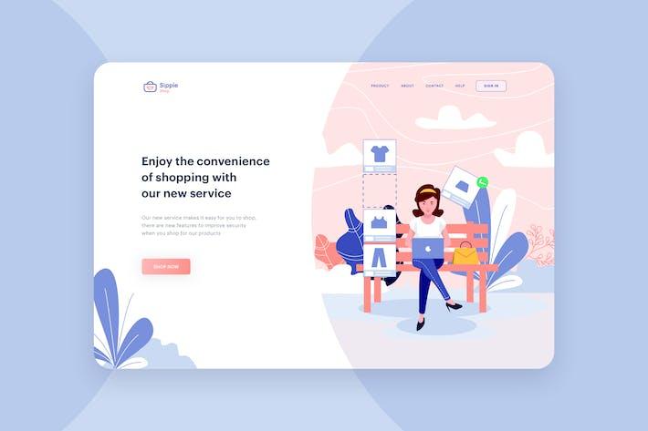 Thumbnail for Shopping Service Illustration - Website Header