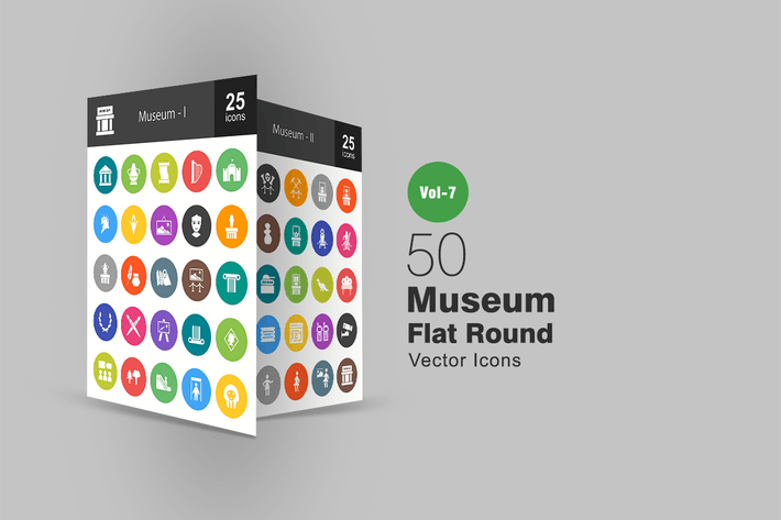 Cover Image For 50 Museum Flat Round Icons