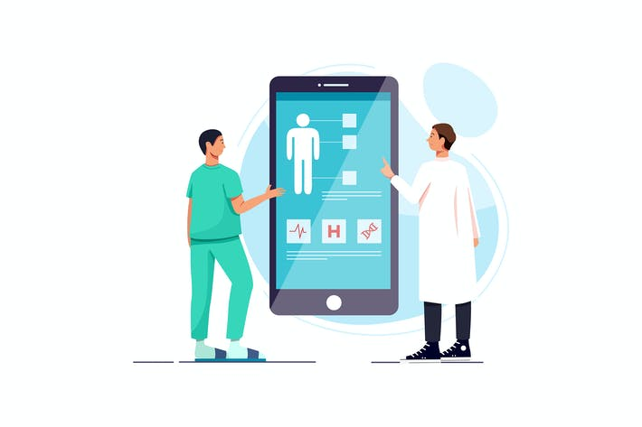 Thumbnail for Doctors examining a patient using a medical app