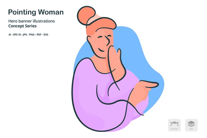 Cover Image For Pointing Woman Vector Illustration