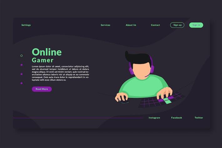 Thumbnail for Online Gamer - Web Header & Landing Page GR